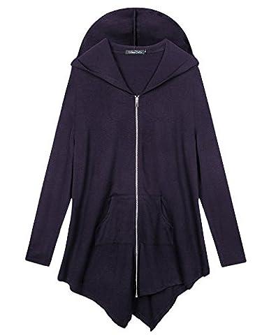 Urban GoCo Femme Sweat à capuche Manche Longue Pull Hoodie Casual Zipper Veste Sweatshirt Grande Taille (XL, Violet foncé)