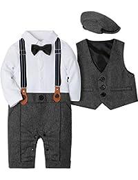 SANMIO Baby Jungen Bekleidungssets, 3tlg Strampler with Fliege + Weste + Hut Gentleman Anzug Langarm Baby Kleikind für Herbst Festliche Taufe Hochzeit
