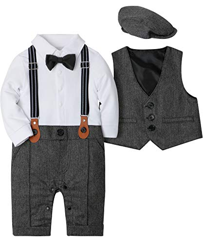 SANMIO Baby Jungen Bekleidungssets, 3tlg Strampler with Fliege + Weste + Hut Gentleman Anzug Langarm Baby Kleikind für Herbst Festliche Taufe Hochzeit (Weihnachten Anzüge Für Kleinkinder)