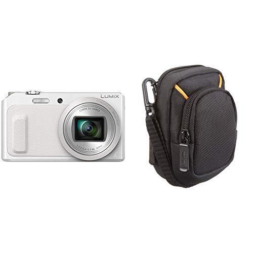 Panasonic lumix dmc-tz57eg-w fotocamera, sensore mos 16mp, zoom ottico 20x, video full hd, wink detector, wi-fi certified, bianco & amazonbasics - custodia per fotocamera compatta, misura media