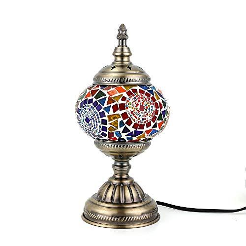 Lámpara Turca Mesa Mosaico cristal hecho Mano, Bombilla