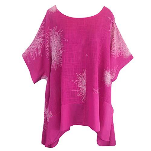 ndhals Falten T-Shirt Damen Sommer Mode Kurzarm Druck Baumwolle Und Leinen T-Shirts Tops Blusen ()