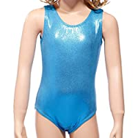 Anladia Girls Kids Gymnastic Ballet Sparkly Leotards Shiny Sleeveless Sport Dancewear Tank Costume