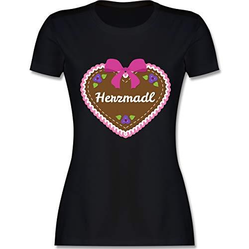 Oktoberfest Damen - Herzmadl Lebkuchenherz Rosa - M - Schwarz - L191 - Damen Tshirt und Frauen T-Shirt