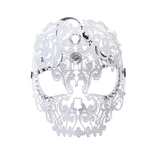 ll Openwork Diamant Tiger Kopf Maske Prom Halbe Gesichtsmaske Maske Exquisite High End Halloween Half Face Maskerade Party Diamant,White ()