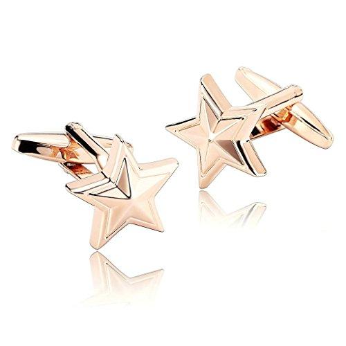AnazoZ Mode Bijoux en acier inoxydable pour homme 1 paire Boutons de manchette étoile de mer étoile de mer Seas Beach Or rose Boutons de manchette pou