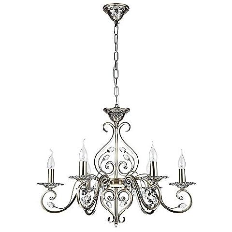 Klassischer antiker Kronleuchter, Messing Metall Farbe, handgeschnittene Kerzenteller, klare Kristalltropfen, 6-flammig, exkl.6 E14 60W 220V