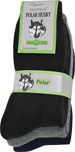 Wahl Beenden (Polar Husky® 3 Paar Sehr warme Socken mit Vollplüsch und Schafwolle/Nie Wieder kalte Füße! Farbe Vollfrottee/Schwarz-Grau-Blau Größe 39/42)