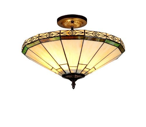 Chloe Lighting Chloe Lighting Belle 2-Light Tiffany Style Mission Semi Flush Ceiling Fixture with 16 in. Shade by Chloe Lighting (Flush Belle)