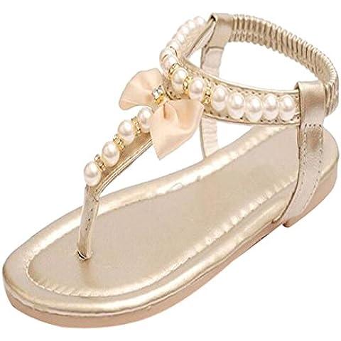 Sandalias Zapatos de Verano Elegante Encantadora Linda Perla Rebordea Nudo Peep Toe de Color Oro para Chicas Niñas -