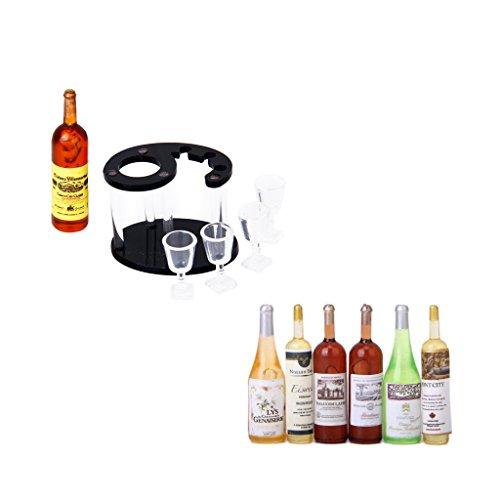 Sharplace Mini Wein Bier Champagner Trinken Flasche Und Wein Regal Flasche Rack Für 1/12 Dollhouse Esszimmer Küche Dekor -