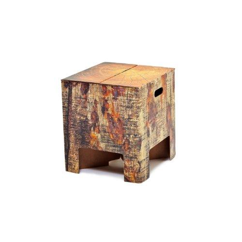 Dutch design brand innovativo sgabello in cartone ondulato di design (stampa: tronco albero) da usare come sedia, pouf, tavolino da salotto, fianco divano, facile da montare – 33 x 30 x 30 cm