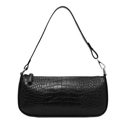 Frauen Umhängetasche Einfarbig Reißverschluss Messenger Bag Täglich Umhängetasche(Schwarz)
