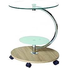 Mesa rincón redonda en roble y cristal,con ruedas diámetro 50 cm alto 58 cm