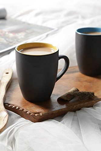 Black Matt Finish Multicolor Large Coffee Mugs - Set of 2