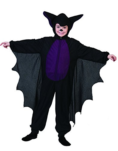 Halloweenia - Jungen Karneval Halloween Superheld, Kinder Fledermaus-Jumpsuit, 116, 6 Jahre, Schwarz