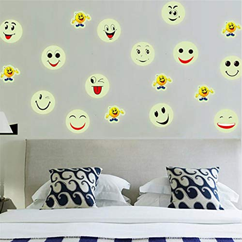 Cczxfcc 2Pcs Aufkleber An Der Wand Glow In The Dark Luminous Fluoreszierende Pvc Wandaufkleber Emoji Smiley Face