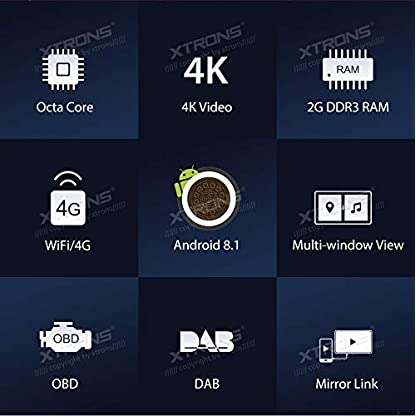 XTRONS-7-Auto-Touchscreen-Autoradio-Auto-DVD-Player-mit-Android-81-Octa-Core-Multimedia-Player-unterstzt-4K-Video-WiFi-4G-Bluetooth50-2GB-RAM-16GB-ROM-DAB-OBD2-FR-Seat-Ibiza