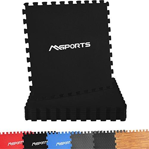 MSPORTS Bodenschutzmatten Set Premium - 8 Schutzmatten in verschiedenen Farben 3,175m² | Bodenschutz 60x60 cm Puzzlematten Gymnastikmatte (Schwarz)