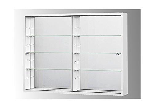 Sammlervitrine Glasvitrine Sammelvitrine Hängevitrine Vitrine Weiß Spiegel Schaukasten Glasboden 375 x 70 x 4 mm
