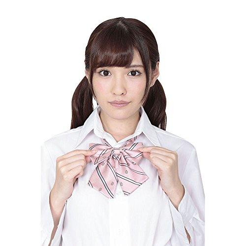 A&Tcollection Japanese High School Girl Uniform Kawai School Ribbon Pink Stripes