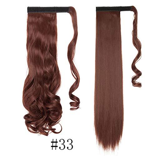 17''23 '' Long Wavy Clip In Haarspange Falsches Haar Pferdeschwanz Haarteil Mit Haarnadeln Synthetisches Haar Pferdeschwanz Haarverlängerung 33- Wavy-17Inch -