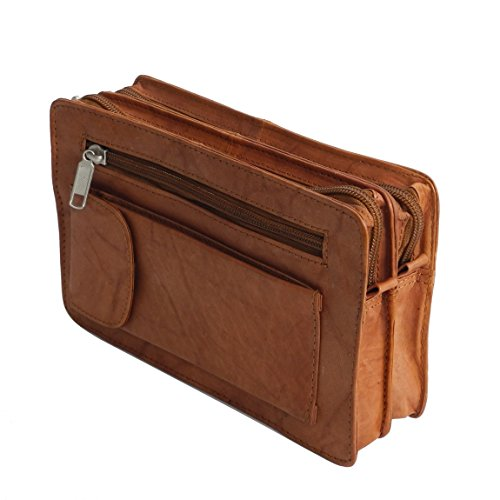 Bag Street Leder - exquisite Leder Herren Handgelenktasche , Herrentasche , Handtasche , Handgepäck-Tasche ( Braun - Doppelkammer ) - präsentiert von ZMOKA® Tan