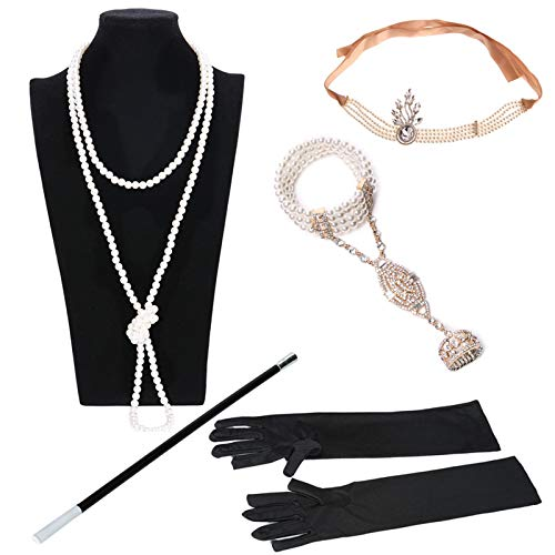 AmDxD Damen 20er Jahre Zubehör Set Flapper Kostüm-Set Feder Hohl Stirnband, Perlenkette, Perlenarmband Ringe, Handschuhe, Zigarettenhalter 1920er Jahre Halloween Kostümzubehör Gold