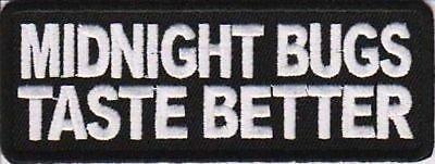Midnight Bugs Taste Better Embroidered Biker Funny Motorcycle MC Patch PAT-1205 by heygidday Biker-taste