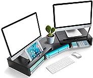 LORYERGO Monitorständer Holzmaterial mit Verstellbarer Länge und Winkel 2 Extra funktioneller Slot Monitorerhö