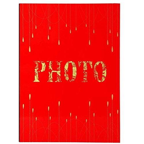 FOOHAO- Albums photo avec des pages collantes, couverture rouge en bois, 20 pages (40 faces), album bricolage Creative Couple