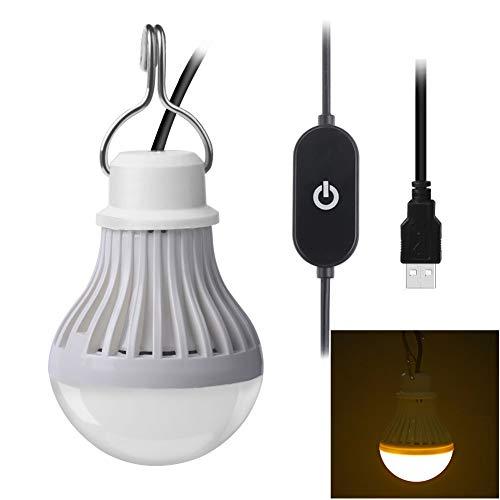 chtmittel, 5 V, 5 W, LED, USB-Birne, Touch-Schalter, Outdoor-Notfall, energiesparend, Camping-Licht, Warmweiß, Kunstharz, warmweiß, Warm White 5.0watts 5.0volts ()