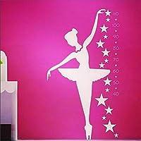 JXAA Ballerina Wall Decal - Dancer Dancing Ballet Height Stickers for Kids Room Home Decor Decals Beautiful Wall Sticker Post 70x120cm