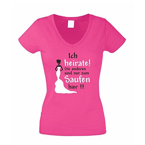 JGA T-Shirt Damen V-NECK - Ich heirate - die anderen saufen Junggesellenabschied, pink, XXL (V-neck Frauen-t-shirt)