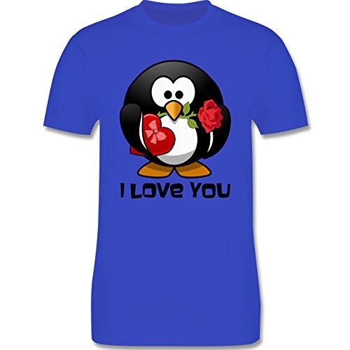 Valentinstag - Pinguin Rose Pralinen Geschenk - 4XL - Royalblau - L190 - Herren T-Shirt Rundhals (Pinguin-winter T-shirt)