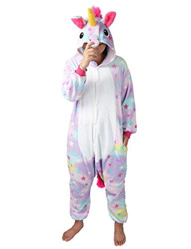 Einhorn Kostüm Pyjamas Tierkostüm Schlafanzug Verkleiden Cosplay Kostüm zum Karneval Fasching, Stern, Gr. XL