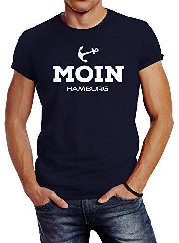 Neverless Herren T-Shirt Moin Hamburg Anker Slim Fit Navy XXL