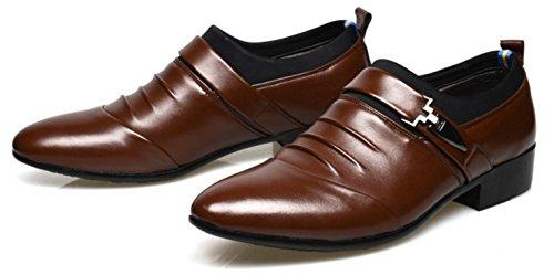 HYLM Männer Leder Schuhe Mode Business Schuhe Hochzeitskleid Schuhe , brown , 42