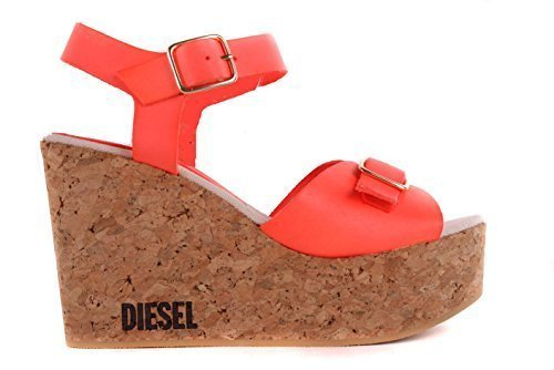 Diesel Damen Sandalen Plateau Wedge Pumps Orange #45 (39)