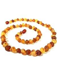 Collar de Ambar Natural - Unisex, 48 cm, Combinacion de colores Ayurveda, 100% ambar del Baltico, Joyeria para hombres y mujeres [AmML700]