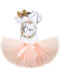 NNJXD Girl Newborn Crown Tutu 1st Birthday 3 Pcs Flower Outfits Romper+Skirt+ Headband