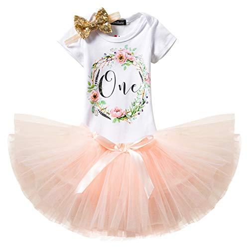 (NNJXD Mädchen Newborn Crown Tutu 1. Geburtstag 3 Stück Blume Outfits Strampler + Rock + Stirnband Größe 1 Jahre Pink)