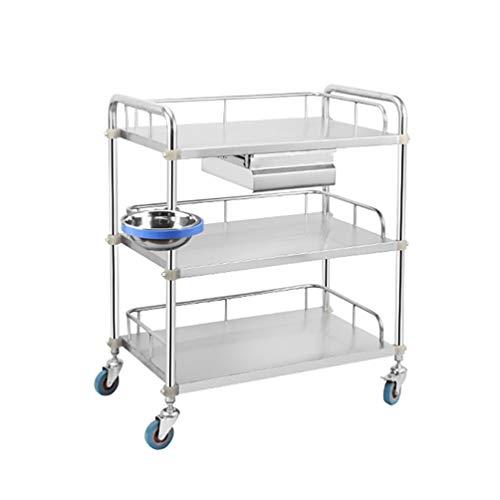 Dhr- acciaio inossidabile utility carts, 3 tier medical carrello con cassetti e benne dirt, resistente alla corrosione, acido e resistente agli alcali bagagli servizio di bellezza trolley
