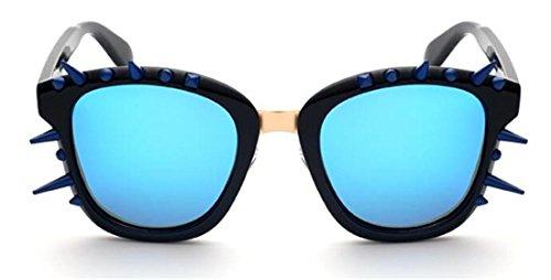JJH-ENTER Männlich Weiblich Persönlichkeit spitz Zahn Sonnenbrille Blenden Cool Platz gestalten Große Brillengläser , black box (Aviator Zähne)