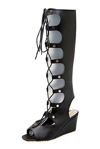 UH Sandales Bottes Femmes Creux à Talons Hauts Compensees Confortables Peep Toe Slingback de Lacets et Fermeture Eclair Noir