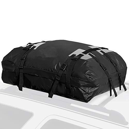 Sac de transporteur de toit sur le toit - Sac de transport étanche pour le toit, 100% étanche, pour galerie de toit Toute voiture, fourgonnette ou VUS, 15 pi3 pi