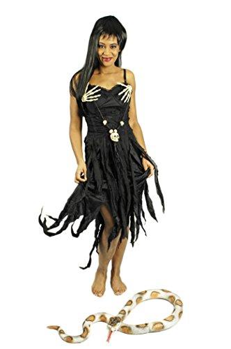 Hexenkleid schwarz für Damen | Größe 36/38 | 1-teiliges Voodoo Kostüm | Märchen Faschingskostüm für Frauen | Hexenkostüm für Karneval