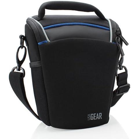 USA Gear - Funda Bolsa Neopreno Cámaras Reflex – Compatible con Pentax K-5II / Canon EOS 100D, 700D / Sony Alpha SLT-A58 / Nikon D3200 con 18-135mm, 18-55mm…. ¡y más! – ** Protección Impermeable Incluida – **