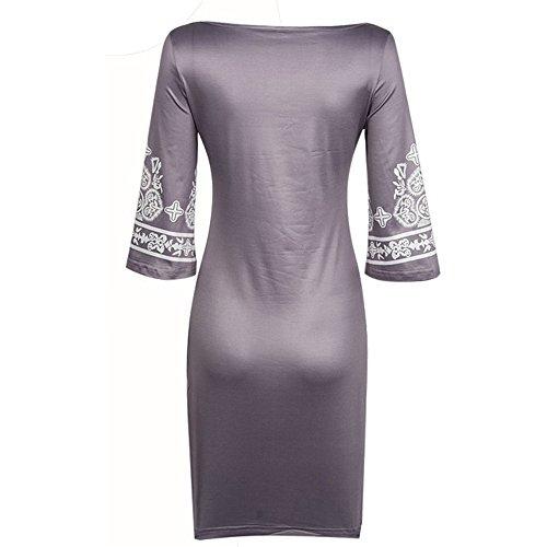 JOTHIN Volksart dünnes Ausdehnungs-großes neu Kleid Runden-Ausschnitt Braun