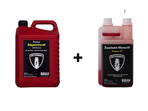 Preisvergleich Produktbild Kettenbertl 5l Kanister Sägekettenöl + Kettenbertl 2-Takt Mischöl 1:50 1l Dosierflasche